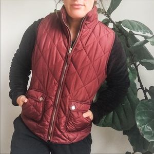 Anthro✨ Thread & Supply Maroon Quilted Vest